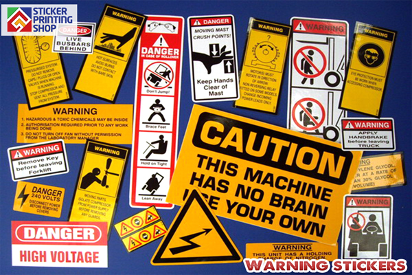 Warning stickers 4 categories for customized safety stickers